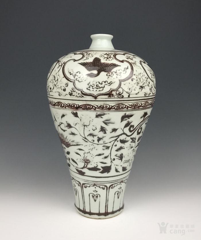 元代 釉里红凤纹梅瓶-图2