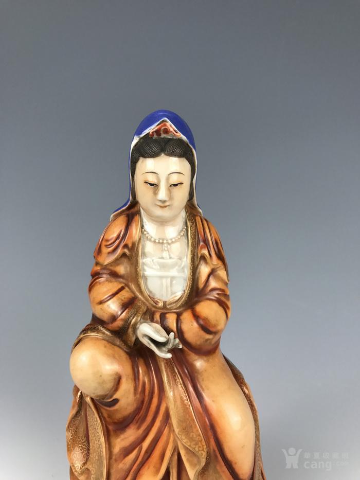 民国 三彩矾红描金观音佛像图5