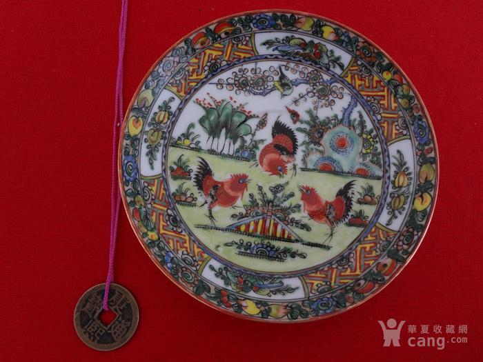 【442-323】民国绿广彩公鸡纹小杯碟一套图8