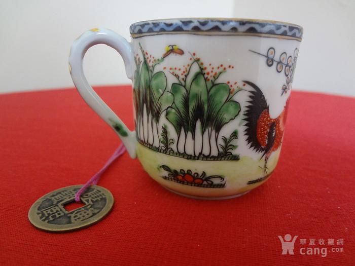 【442-323】民国绿广彩公鸡纹小杯碟一套图6