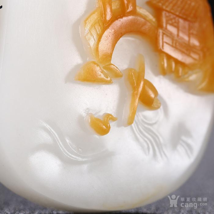 昌泰祥 天然新疆和田玉玉雕吊坠白玉籽料原皮挂件山水玉项链玉坠图9