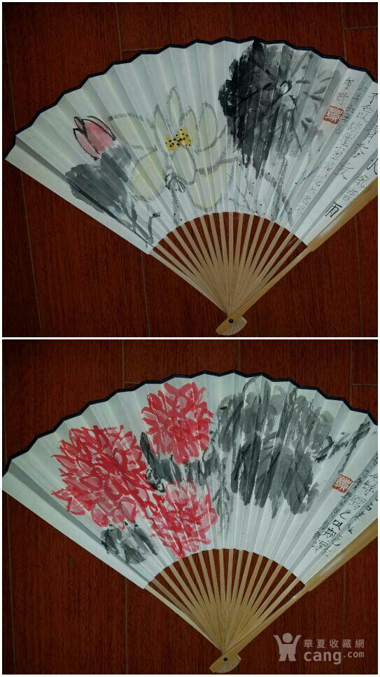 【已鉴定】绝对精品:苏州美协主席―贺野合景成扇(双面花卉)图1