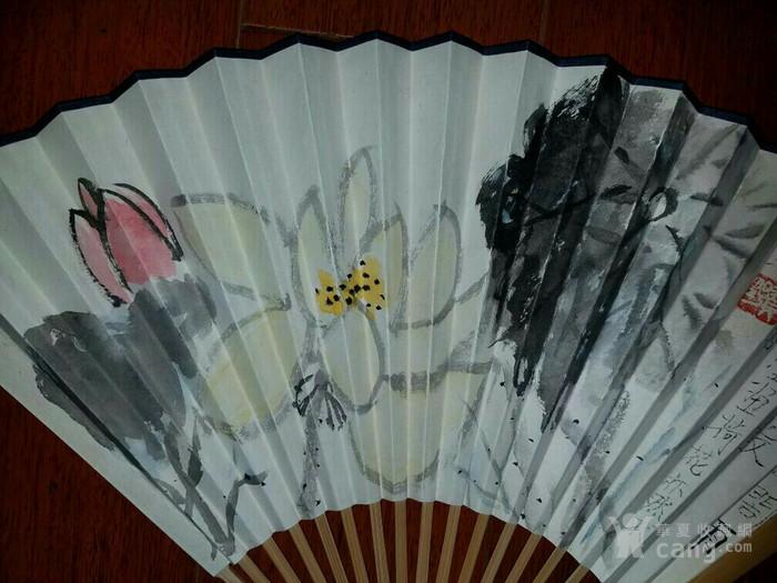 【已鉴定】绝对精品:苏州美协主席―贺野合景成扇(双面花卉)图5