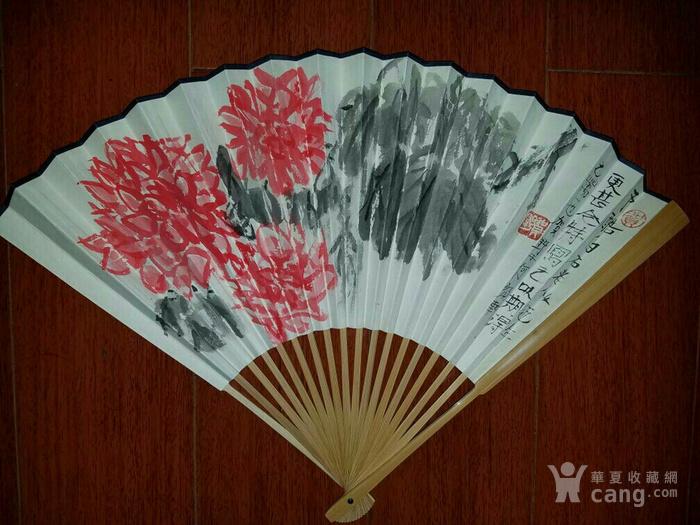 【已鉴定】绝对精品:苏州美协主席―贺野合景成扇(双面花卉)图6