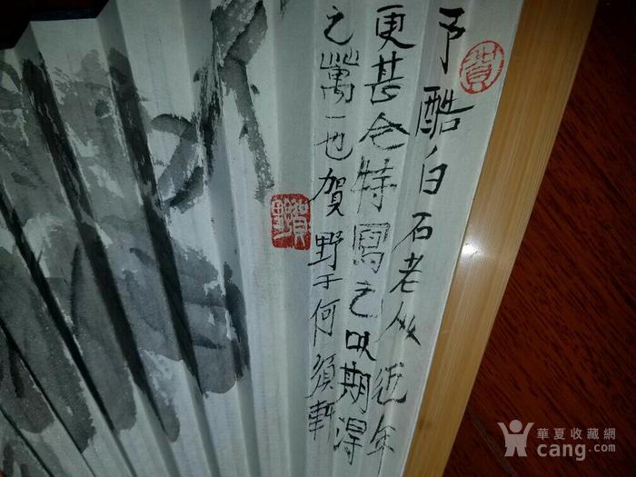 【已鉴定】绝对精品:苏州美协主席―贺野合景成扇(双面花卉)图8