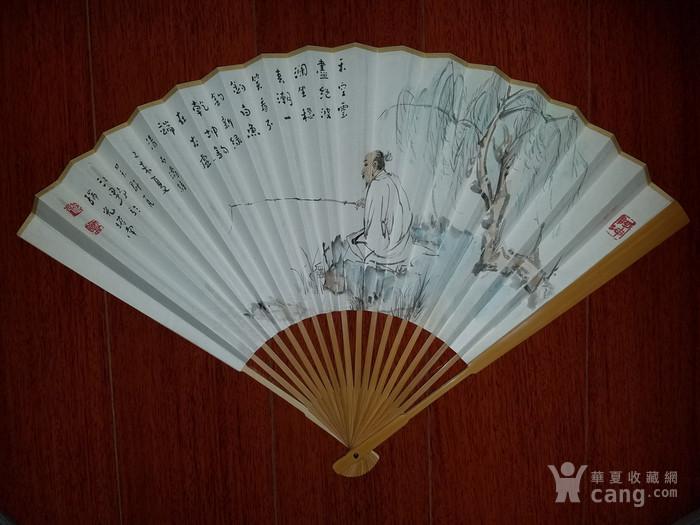 【已鉴定】江野人物图精品成扇(全手工精制玉竹扇骨,乙末年画)图1