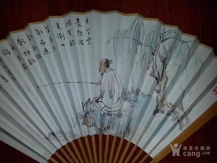 【已鉴定】江野人物图精品成扇(全手工精制玉竹扇骨,乙末年画)图2