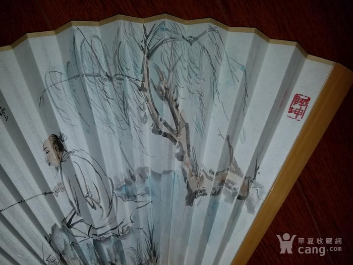 【已鉴定】江野人物图精品成扇(全手工精制玉竹扇骨,乙末年画)图3
