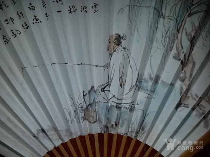 【已鉴定】江野人物图精品成扇(全手工精制玉竹扇骨,乙末年画)图4