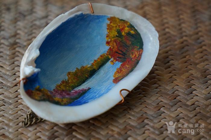 西洋油画贝壳带签名图6