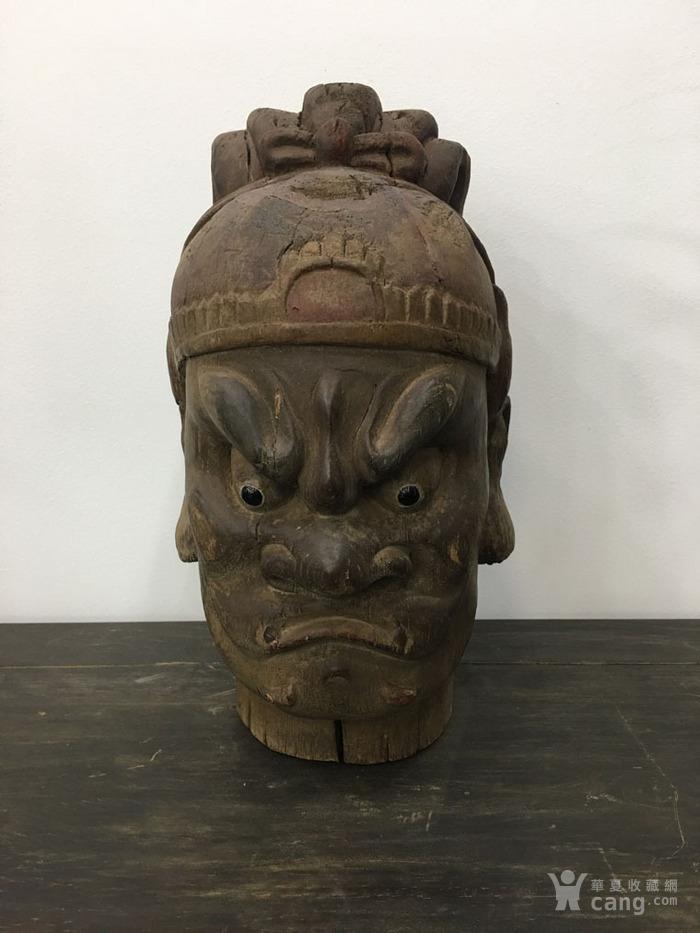古董老木头摆件 清代传世木雕佛头