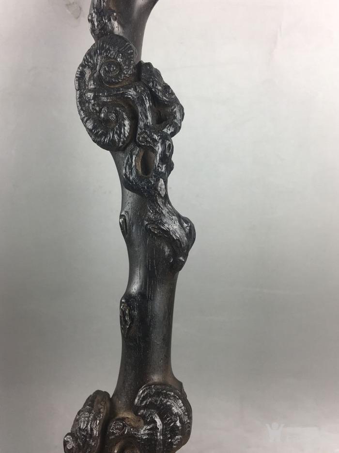 明清紫檀木雕 收藏木雕摆件清代小叶紫檀雕灵芝如意