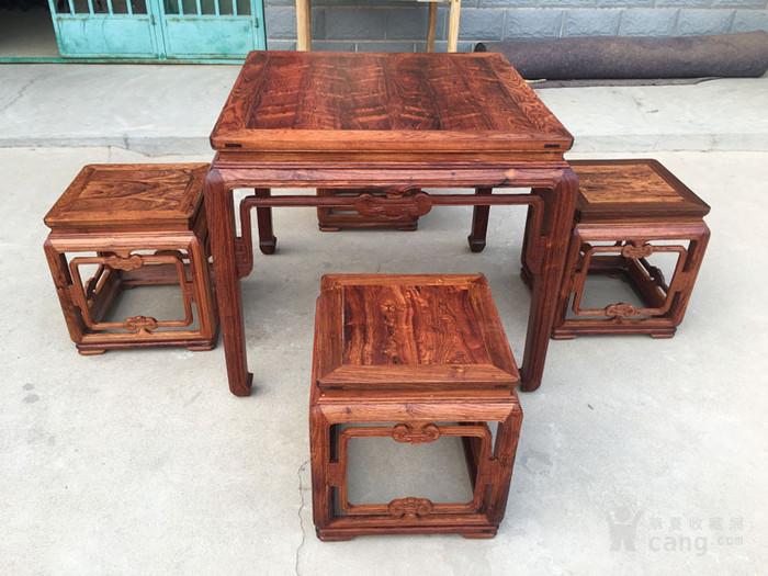 降香黄檀木器 老木头旧货 近代海南黄花梨一套方桌图1