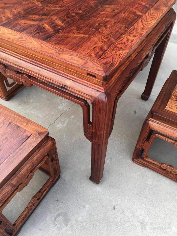 降香黄檀木器 老木头旧货 近代海南黄花梨一套方桌图6