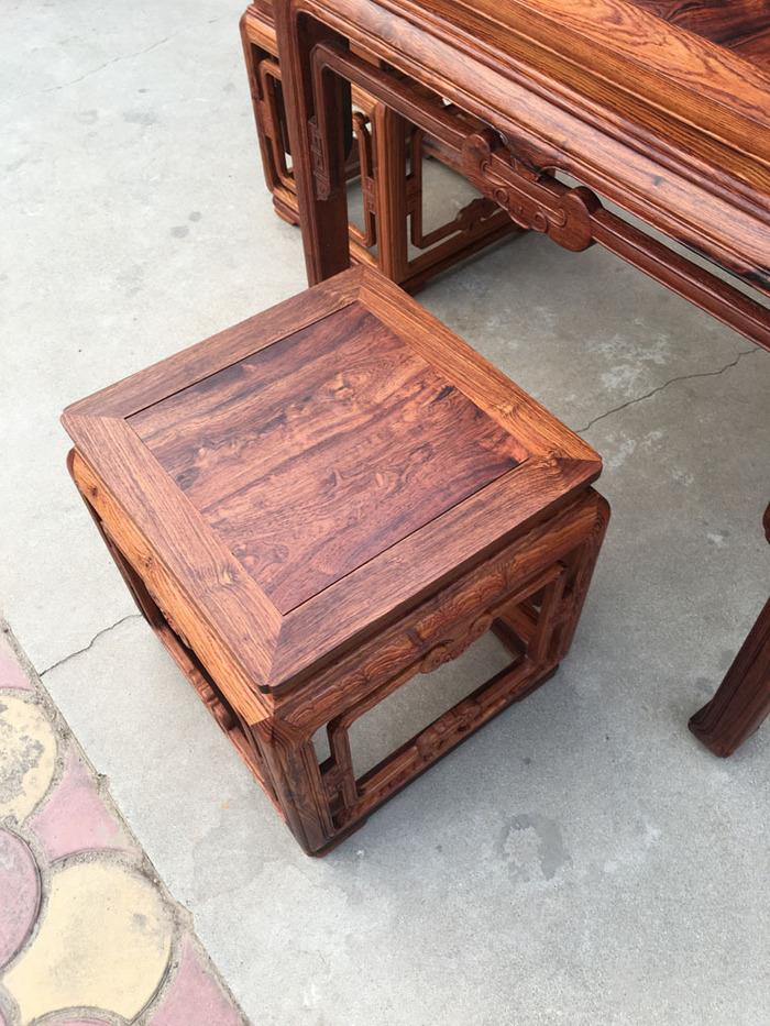 降香黄檀木器 老木头旧货 近代海南黄花梨一套方桌图7