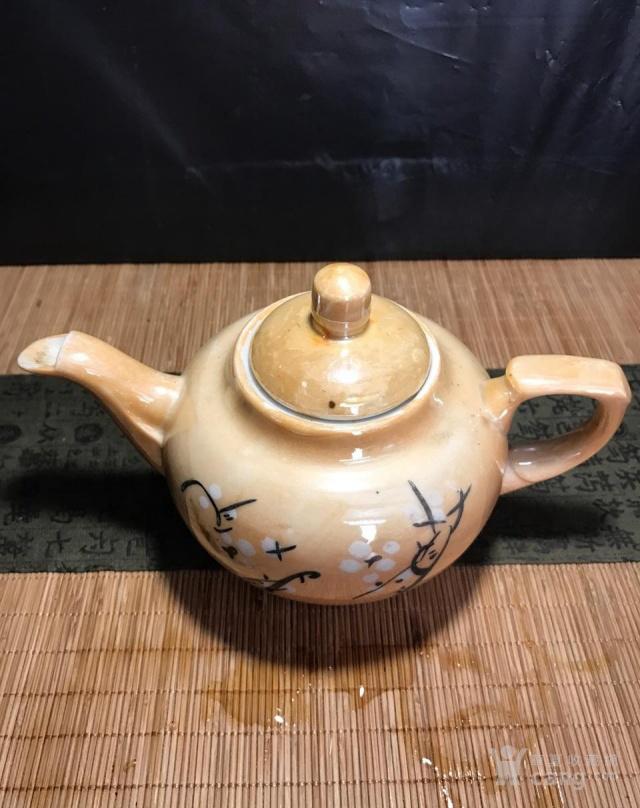 德化80年代国营厂,电光釉茶壶,釉下彩梅花图5