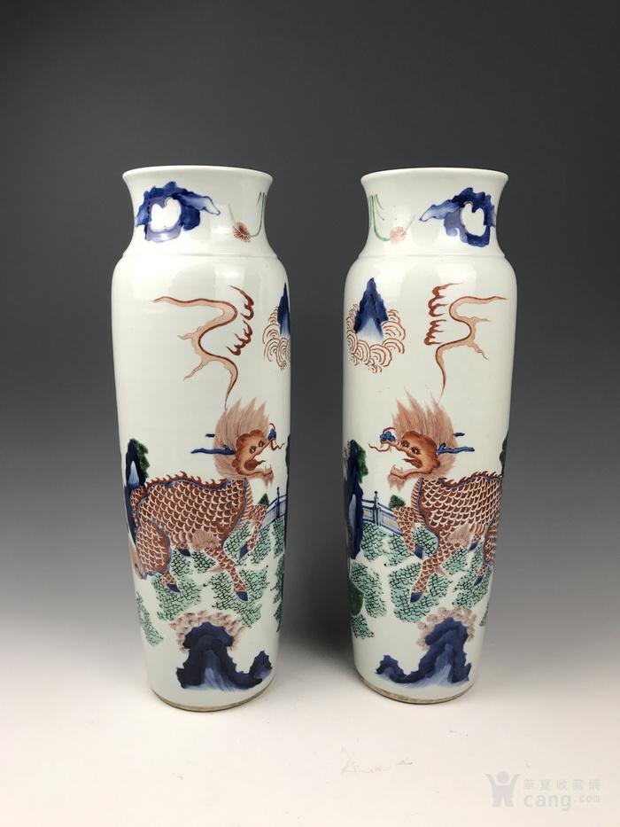 清代 青花五彩麒麟芭蕉象腿瓶一对-图4