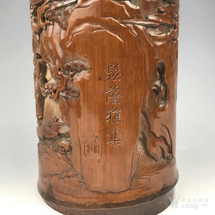 清代 竹雕人物故事文房笔筒【精品】图6