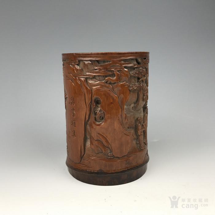 清代 竹雕人物故事文房笔筒【精品】图4