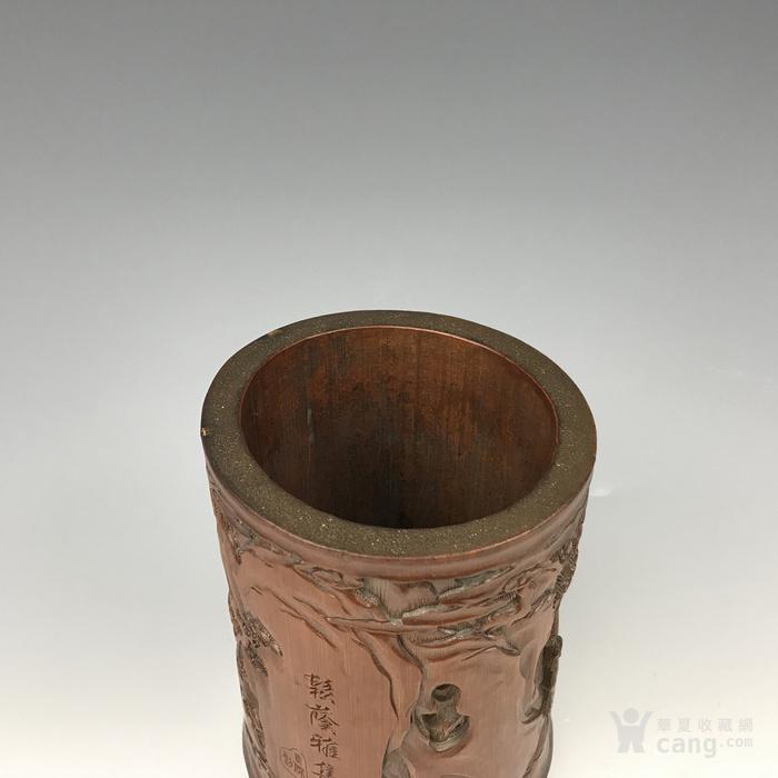清代 竹雕人物故事文房笔筒【精品】图9