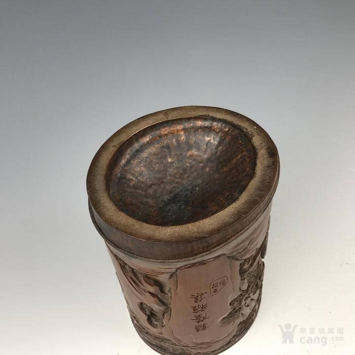 清代 竹雕人物故事文房笔筒【精品】图10