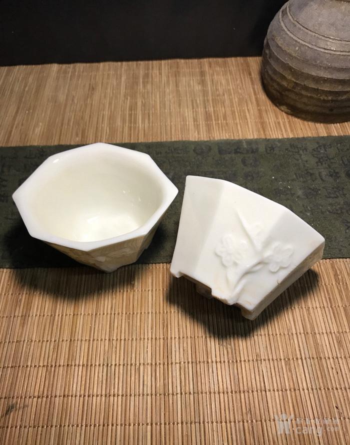 一对德化窑明代八方梅花杯,口径了8cm,高4.5cm简洁素雅图1