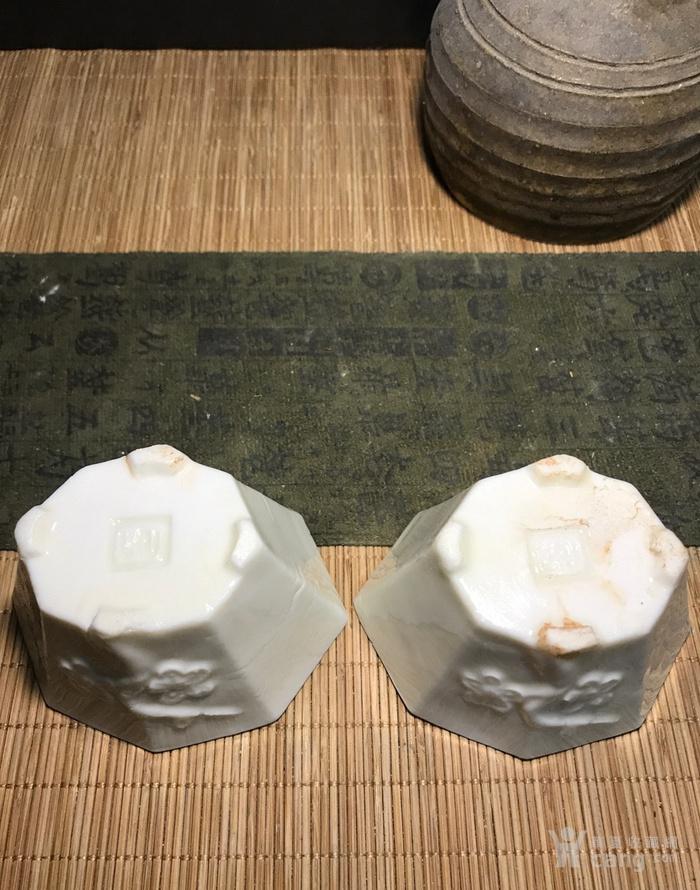 一对德化窑明代八方梅花杯,口径了8cm,高4.5cm简洁素雅图4