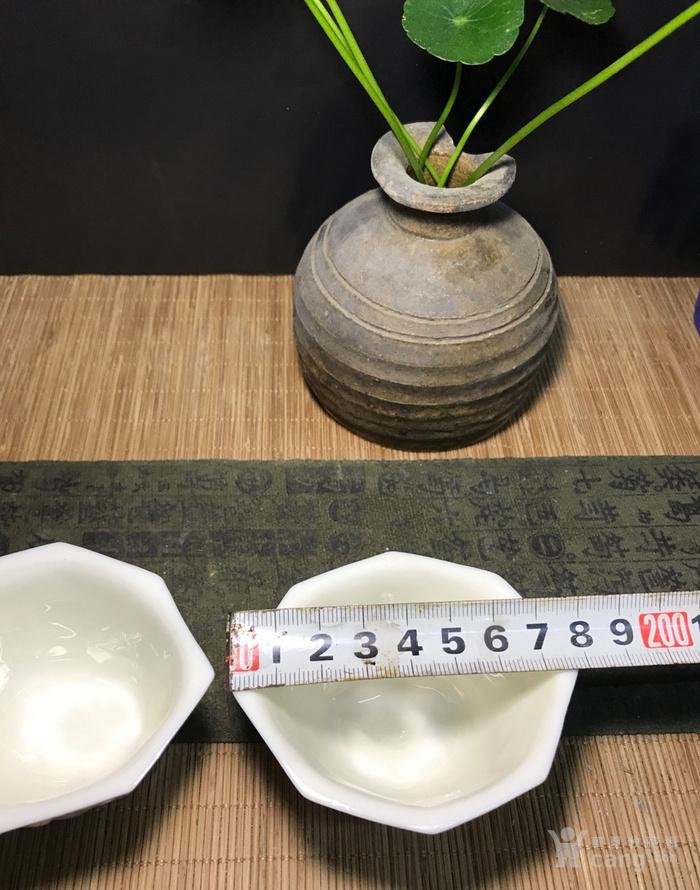 一对德化窑明代八方梅花杯,口径了8cm,高4.5cm简洁素雅图6