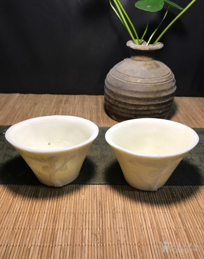 一对德化窑明代棱形兰花杯,口径7cm,高4.5cm,图3