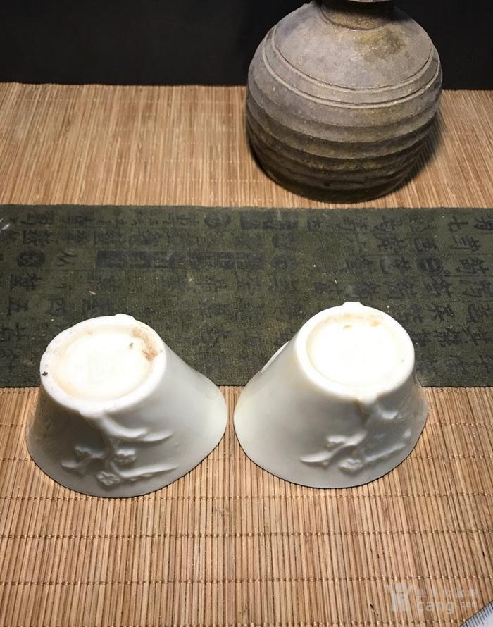 一对德化窑明代棱形兰花杯,口径7cm,高4.5cm,图5