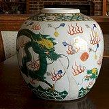 印第安河回流*清代双龙戏珠五彩瓷罐