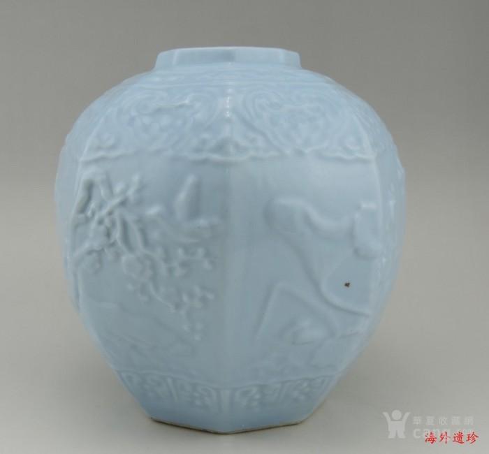 清代 天青釉 印花八棱形方罐图3