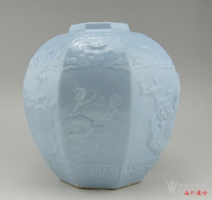 清代 天青釉 印花八棱形方罐图5