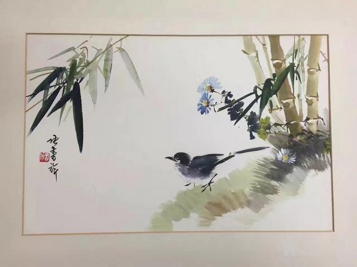 张书�纭睹�竹小鸟》镜框图2