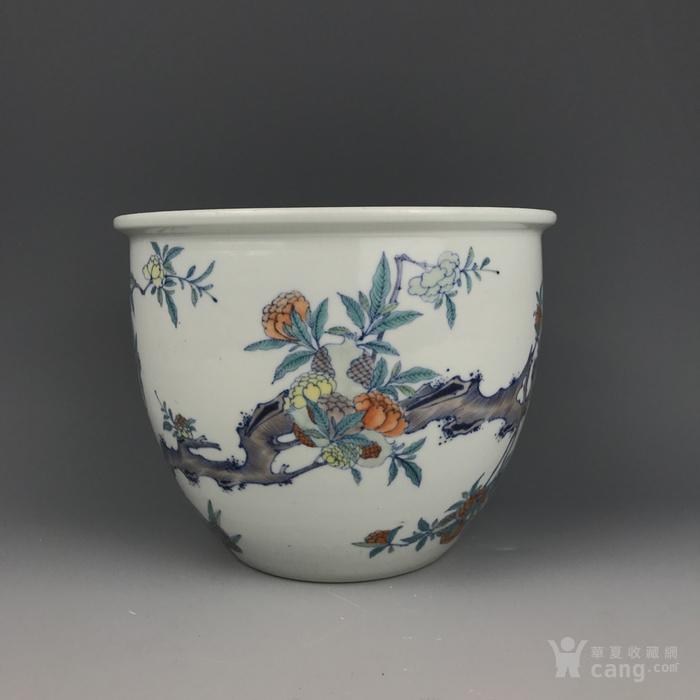 清中期 花果纹斗彩文房卷缸图2