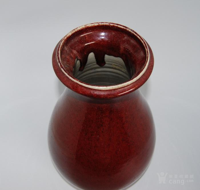 清  郎窑红釉琵琶尊图3