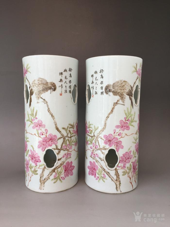 民国粉彩花鸟帽筒,高28.5cm,口径12.5cm,全品!图1
