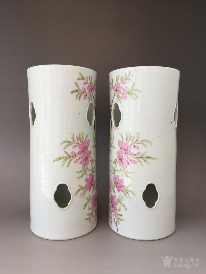民国粉彩花鸟帽筒,高28.5cm,口径12.5cm,全品!图2