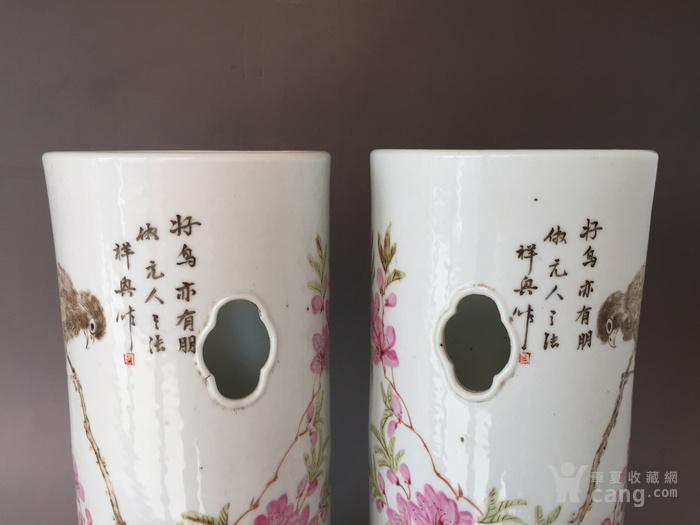 民国粉彩花鸟帽筒,高28.5cm,口径12.5cm,全品!图4