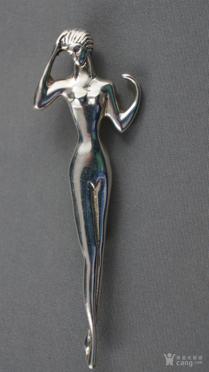 欧洲STERLING纯银芭蕾舞女胸针图1