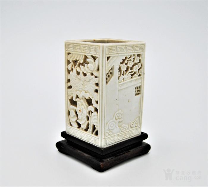 清 德化白釉透雕方笔筒v2图1