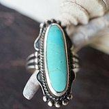 北美925银天然高瓷松石戒指