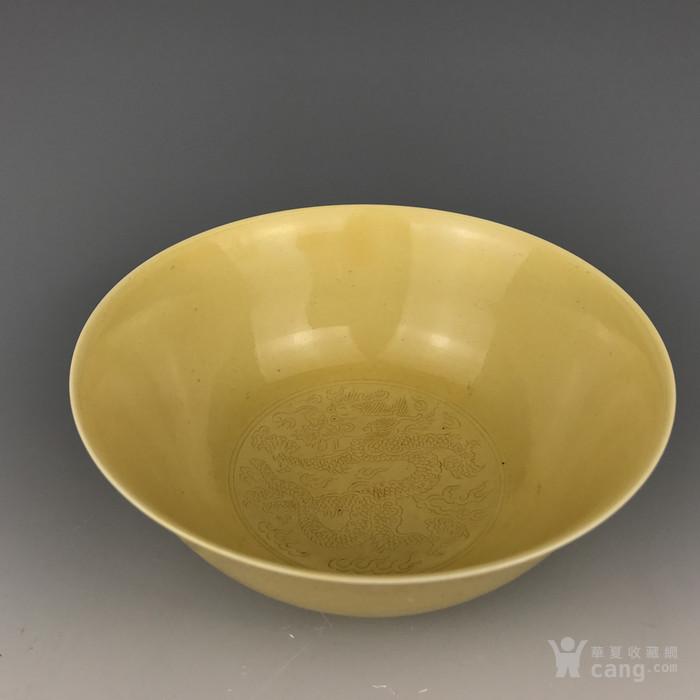 清康熙 黄釉龙纹碗图3
