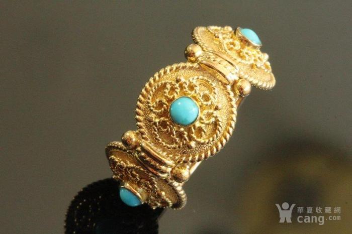 欧洲老首饰 天然绿松石18K金大戒指 古典雅致 西洋掐丝纹饰图1
