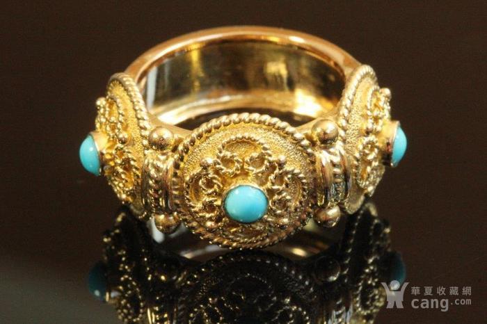 欧洲老首饰 天然绿松石18K金大戒指 古典雅致 西洋掐丝纹饰图3