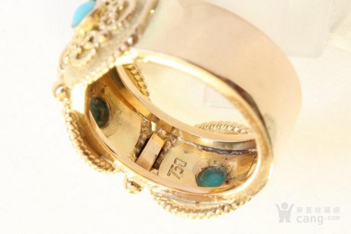 欧洲老首饰 天然绿松石18K金大戒指 古典雅致 西洋掐丝纹饰图4