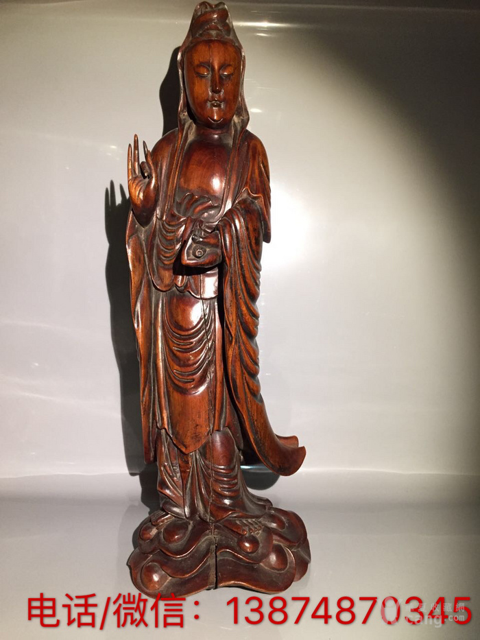 清 乾隆 黄杨木雕观音菩萨图1