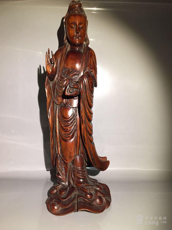 清 乾隆 黄杨木雕观音菩萨图2