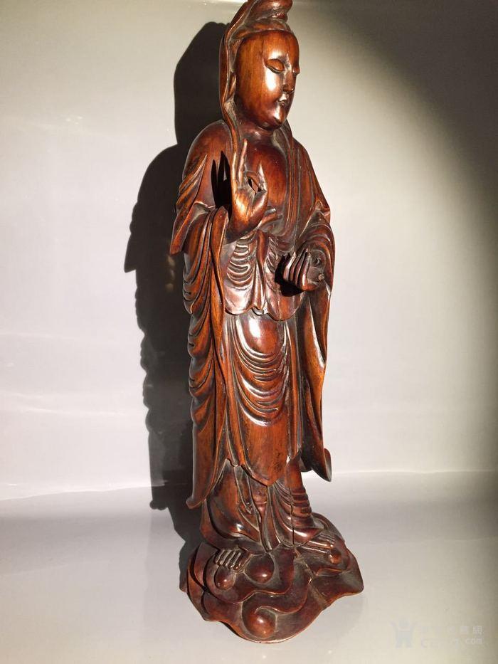 清 乾隆 黄杨木雕观音菩萨图3
