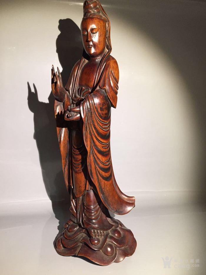 清 乾隆 黄杨木雕观音菩萨图4